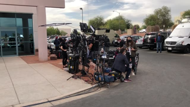members of the media gather outside the clark county election department as election ballots continue to be counted on november 6, 2020 in north las... - clark county nevada stock videos & royalty-free footage
