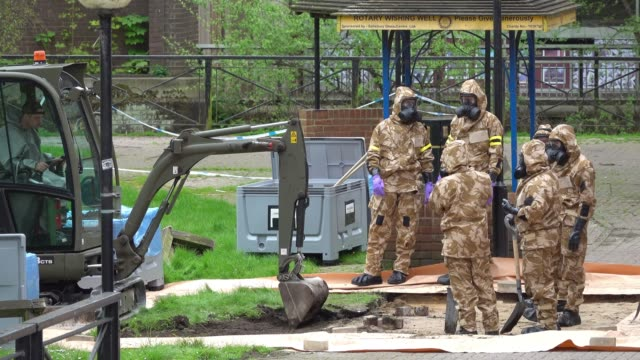 Members of the military work in the Maltings shopping area close to the bench where Russian former double agent Sergei Skripal and his daughter Yulia...
