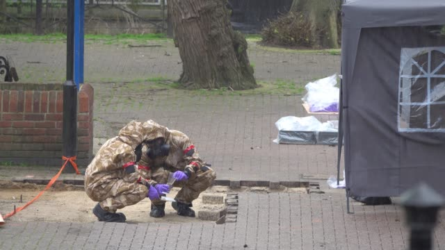 members of the military work in the maltings shopping area close to the bench where russian former double agent sergei skripal and his daughter yulia... - 週点の映像素材/bロール