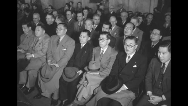vídeos de stock, filmes e b-roll de vs members of the national diet of japan all men sit quietly as they attend a hearing of the us senate committee on foreign relations and committee... - atlântico central eua