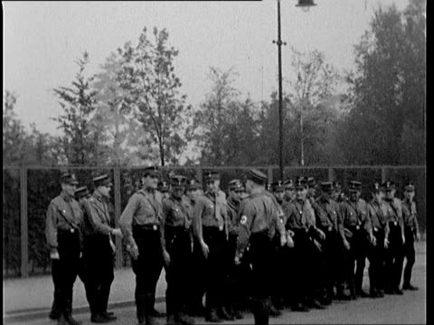 members of the nskk unit m29 in uniform practicing marching formations near olympic stadium berlin - one mid adult man only stock videos & royalty-free footage