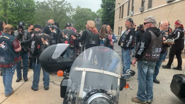 members of the patriotic motorcycle club rolling thunder wear face coverings while participating in the annual memorial day parade on may 25, 2020 in... - veterans day stock videos & royalty-free footage