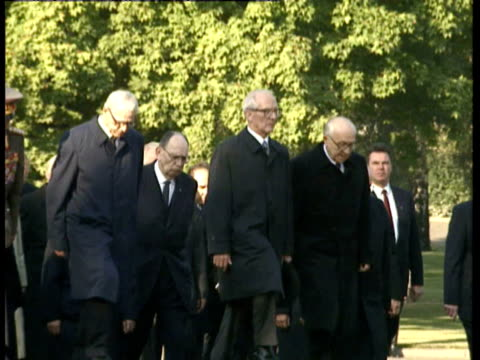 members of the politburo, including then leader of east germany erich honecker as well as top military personnel and egon krenz / anniversary service... - east germany stock videos & royalty-free footage