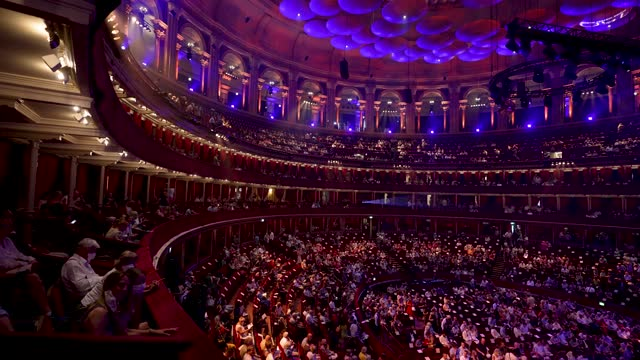 members of the public arrive as a full crowd fill the seats ahead of the royal albert 150th anniversary concert at royal albert hall on july 19, 2021... - crowd stock videos & royalty-free footage