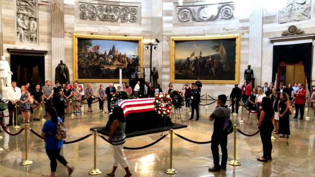 members of the public file through the rotunda to pay their respects to the latesen john mccain as his casket lies in state during a memorial service... - memorial event stock videos and b-roll footage