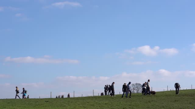 members of the public flock the park to enjoy the sun during lockdown on february 22, 2021 in london, england at west hampstead park. - springtime stock videos & royalty-free footage
