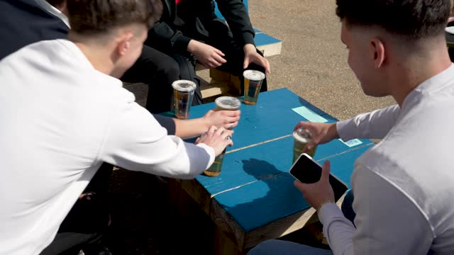 members of the public have a drink at alexandra palace the terrace bar on april 12, 2021 in london, united kingdom. england has taken a significant... - concepts & topics stock videos & royalty-free footage