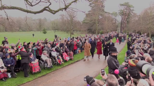 members of the royal family attended their traditional christmas day church service on the sandringham estate. - royalty stock videos & royalty-free footage