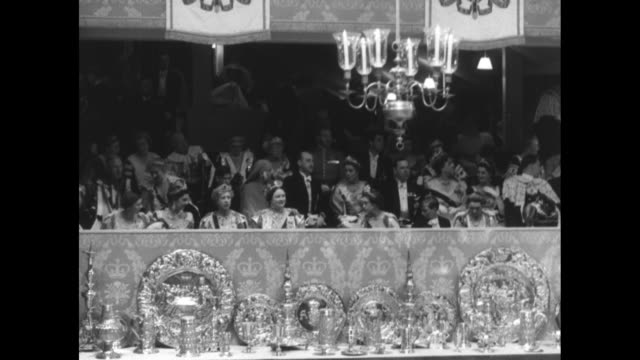 vs members of the royal family in the royal box at queen elizabeth ii's coronation with princess mary pictured to the left of the queen mother and... - coronation of queen elizabeth ii stock videos and b-roll footage