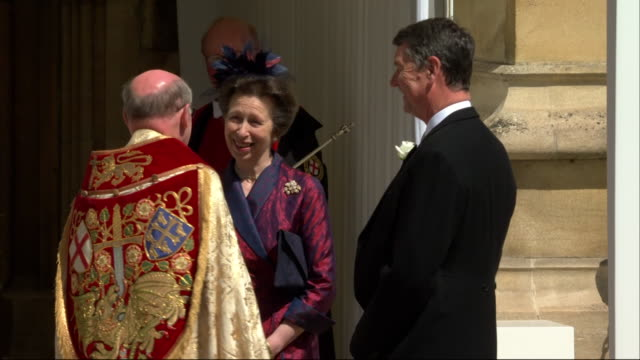 Members of the royal family Princess Anne and the Countess of Wessex arrive at St George's Chapel for the wedding of Prince Harry and Meghan Markle
