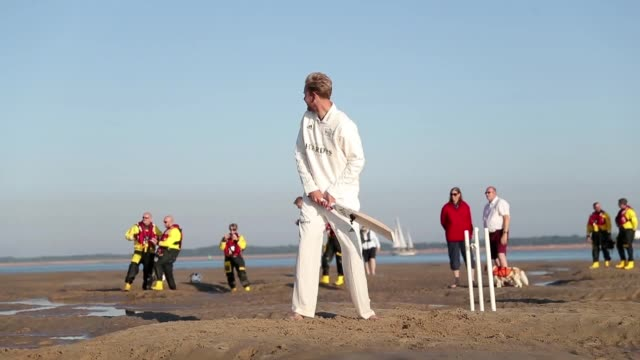 Members of the Royal Southern Yacht Club and the Island Sailing Club take part during the annual Brambles cricket match between the clubs which takes...