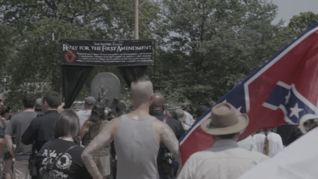 members of the satanic temple are trying to install a statue of baphomet in protest of religious freedom on the capitol's lawn - confederate flag stock videos and b-roll footage