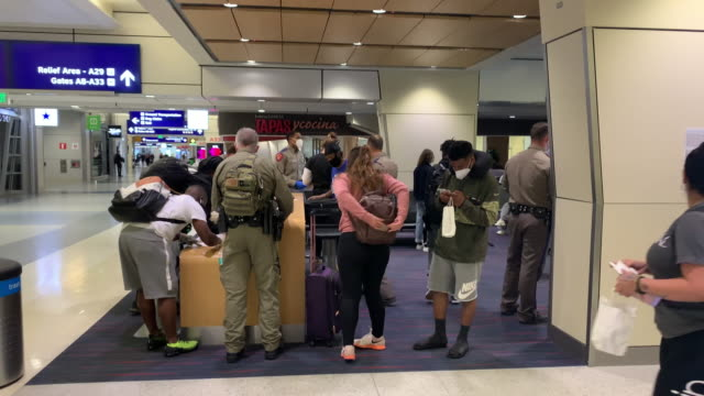 members of the texas highway patrol screen passengers arriving on a nearly full american airlines flight from lax to dallas fort worth international... - dallas fort worth airport stock videos & royalty-free footage