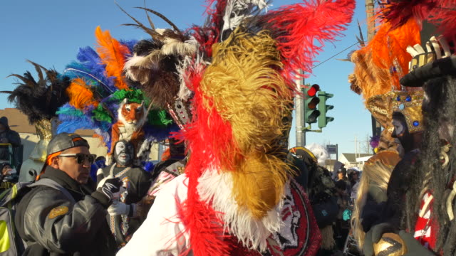 members of the the zulu social aid pleasure club gather at the intersection of jackson and claiborne and begin the zulu parade on mardi gras fat... - gras stock videos and b-roll footage