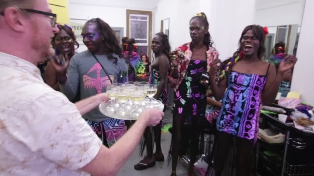 members of the tiwi islands transgendered community prepare ahead of the sydney gay and lesbian mardi gras parade on march 04 2017 in sydney... - gras stock videos and b-roll footage
