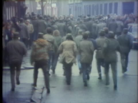 members of the ulster defense association assemble in the streets of belfast then run off down the street - camouflage stock videos & royalty-free footage