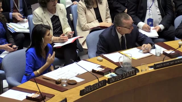 Members of the United Nations Security Council meet at UN headquarters on April 05 2017 in New York United States The Security Council is holding...