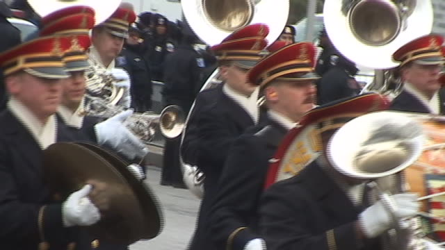 members of the united states army band pass on pennsylvania avenue during the second presidential inauguration parade for george w bush during the... - pennsylvania avenue stock videos & royalty-free footage