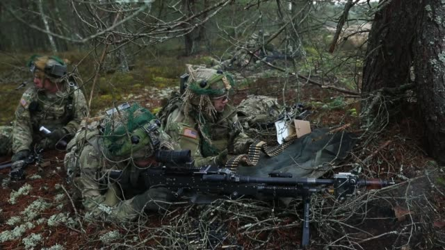 members of the us 173rd airborne brigade discuss the outcome of a simulated attack during the iron sword multinational military exercises on november... - 武力攻撃点の映像素材/bロール