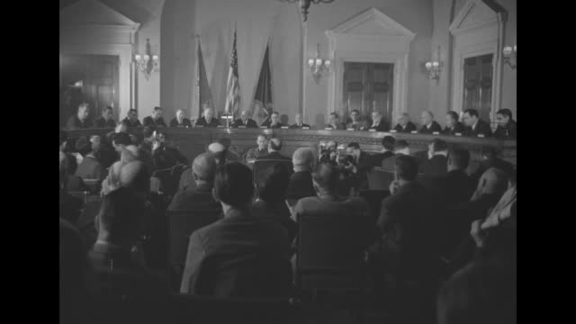members of the us house military affairs committee and committee room / vs secretary of war harry h. woodring and us deputy chief of staff for air... - testimony stock videos & royalty-free footage