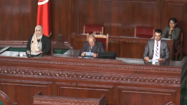 members of tunisian parliament who were elected last october as the first democraticallyelected legislature in the history of tunisia attend a... - bearbeitetes segment stock-videos und b-roll-filmmaterial