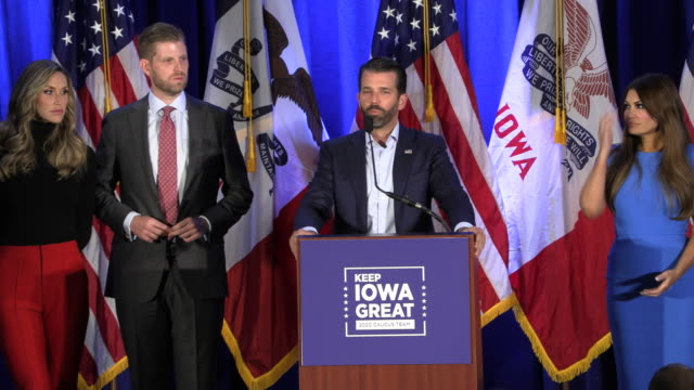 members of united states president donald j trump's family and 2020 trump campaign manager brad parscale hold the keep iowa great press conference on... - furzen stock-videos und b-roll-filmmaterial