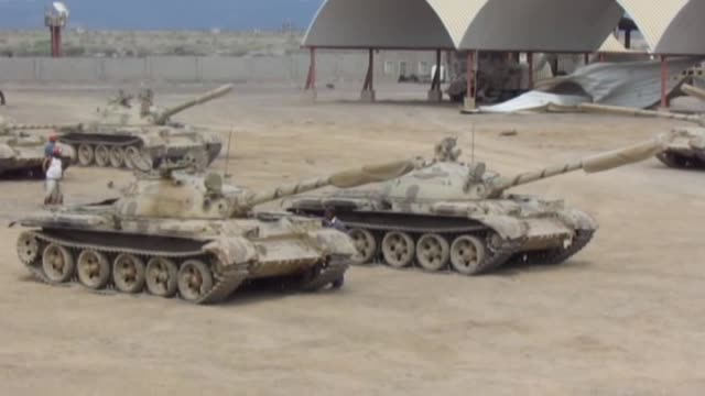 members of yemen's general people's committee deploy with armored military vehicles, brought from al-anad military base in lahij, at mechanized unit... - aden bildbanksvideor och videomaterial från bakom kulisserna
