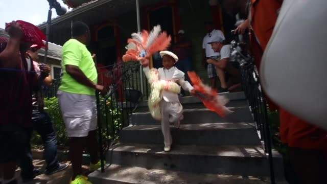 members participate in the original big 7 social aid and pleasure club 'second line' parade on may 10, 2015 in new orleans, louisiana. traditional... - parade stock videos & royalty-free footage
