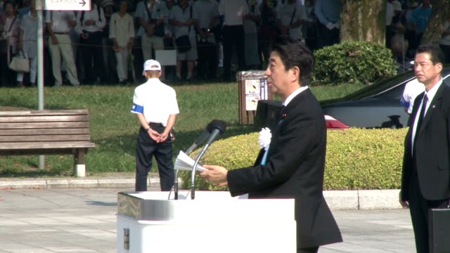 a memorial ceremony was held at the peace memorial park in hiroshima on aug 6 the 70th anniversary of the us atomic bombing of the western japan city... - 原子爆弾点の映像素材/bロール