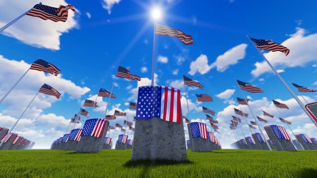 memorial day concept.marble tombstones with covered and waving usa flags at us national cemetery - top hat stock videos & royalty-free footage