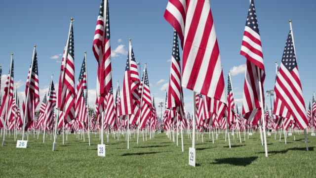 memorial day flags - 4k - us memorial day stock videos & royalty-free footage