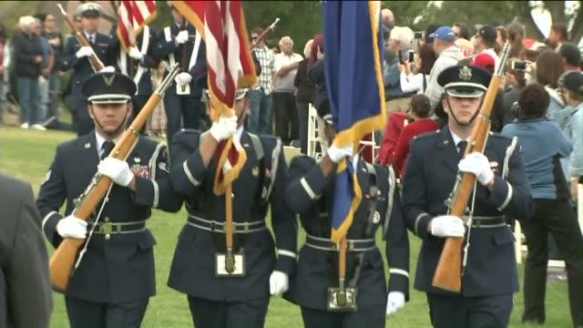 ktla memorial day observance at green hills memorial park in palos verdes - palos verdes stock videos & royalty-free footage