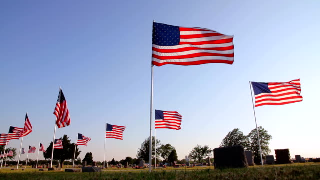 memorial flags - us memorial day stock videos & royalty-free footage