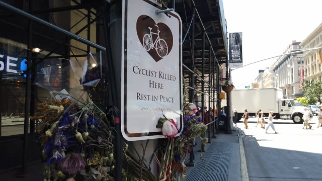 A memorial ghost bike sits in the place where a cyclist was recently killed by a truck in Manhattan on July 01 2019 in New York City As the nation's...