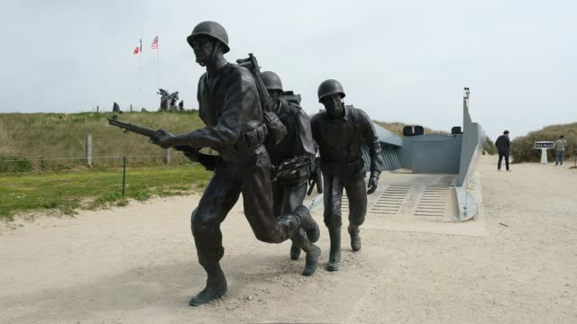 memorial higgins at utah beach in normandy on may 2, 2019 near sainte-marie-du-mont, france. june 6 will mark the 75th anniversary of the d-day... - statue stock videos & royalty-free footage