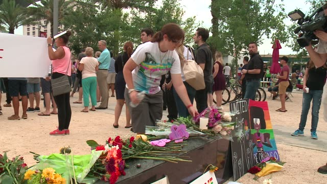 memorial outside of the dr. phillips center for the performing arts in honor to the victims of the mass shooting at the pulse nightclub in orlando,... - memorial vigil stock videos & royalty-free footage