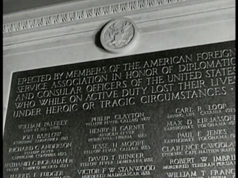 memorial plaque cu ' while on active duty lost their lives' cu names 'paul jenks clarence woolard robert imbrie william francis william jackson john... - memorial plaque stock videos and b-roll footage