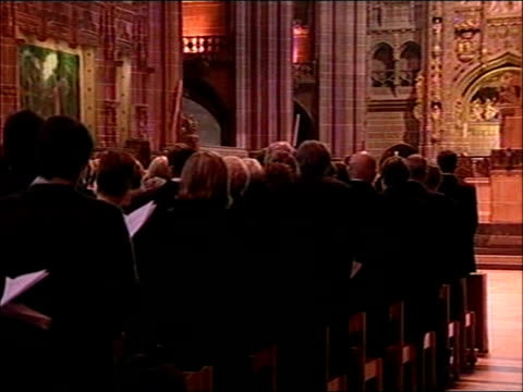 memorial service for ken bigley pool liverpool anglican cathedral tony blair mp and lil bigley arriving at service and being shown to their seats pan... - address book stock videos & royalty-free footage