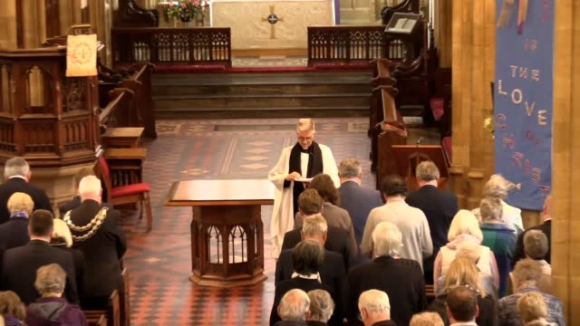 memorial service for paddy ashdown is held at st john the baptist church in yeovil, somerset. includes arrivals by david laws, lord ashdown's... - baptist stock videos & royalty-free footage