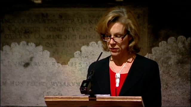 memorial to poet ted hughes unveiled in westminster abbey; andrew motion interview sot juliet stevenson speaking at podium juliet stevenson interview... - poet stock videos & royalty-free footage