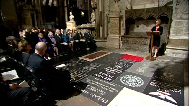 memorial to poet ted hughes unveiled in westminster abbey; juliet stevenson reading ted hughes poems 'full moon and little frieda'. 'anniversary' and... - juliet stevenson stock videos & royalty-free footage