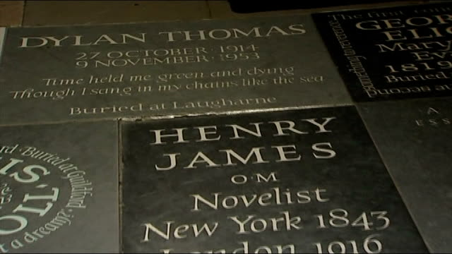 memorial to poet ted hughes unveiled in westminster abbey; memorial stones for lord byron, dylan thomas, henry james, eliot and ted hughes - poet stock videos & royalty-free footage