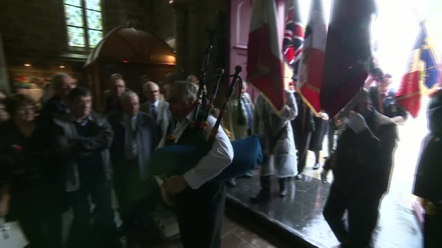 memorial to raf pilots unveiled in northern france france normandy calvados saintsevercalvados int people in church service rick and jack westley... - calvados stock videos and b-roll footage
