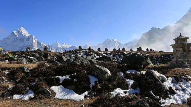 Memorials to the fallen climbers, Dughla Pass, Himalayan mountains, Everest Range, Nepal