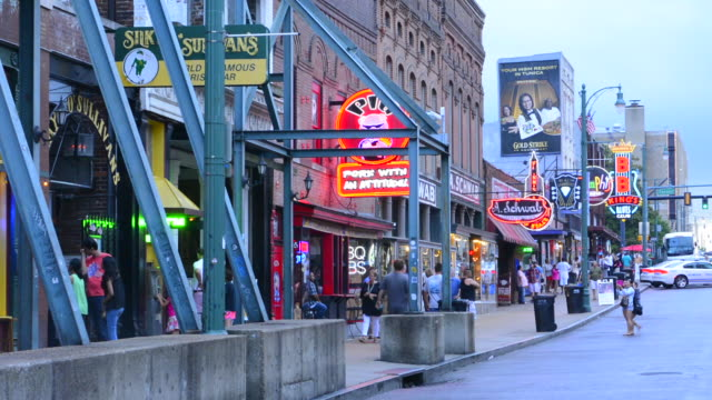 memphis tennessee famous beale street with tourists and music bars everywhere - tennessee stock videos & royalty-free footage