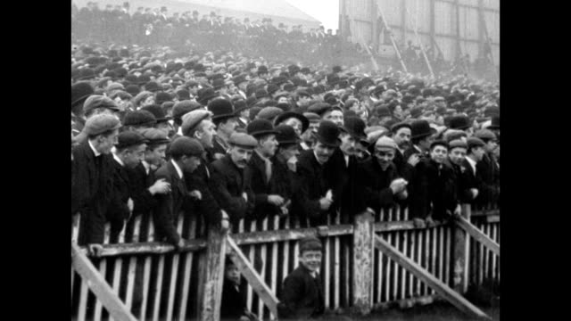 1901 men and boys in the stands at a rugby match - cheering stock videos & royalty-free footage