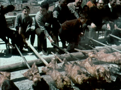 1960 MONTAGE men and boys roasting animals on spits over large pit / CU boy being given some food / Athens, Greece