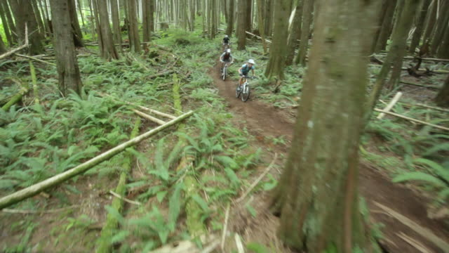 ws pov men and woman mountain biking through forest / squamish, british columbia, canada - mountain bike stock videos & royalty-free footage