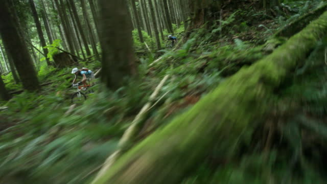 ws pov men and woman mountain biking through forest / squamish, british columbia, canada - mountain biking stock videos and b-roll footage