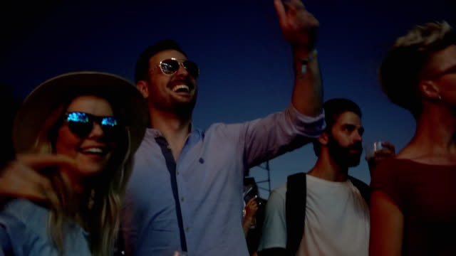 men and women dancing on festival - lightship stock videos & royalty-free footage